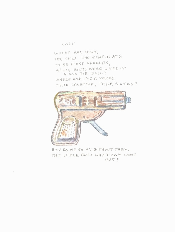 S. Sutro, Gun Series - Lost, watercolor+text, 15x11, 2014.JPG