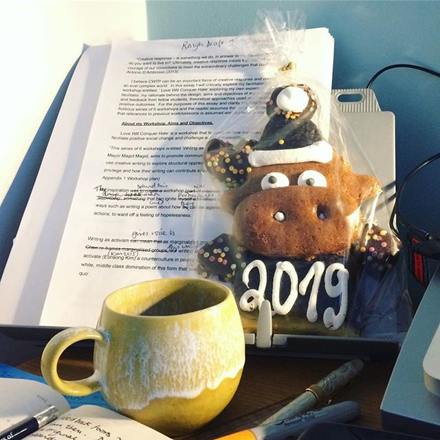 I am still in this flippin' essay cave. 😱😩 My 2019 cookie is at high risk of being eaten today. It looks worried.