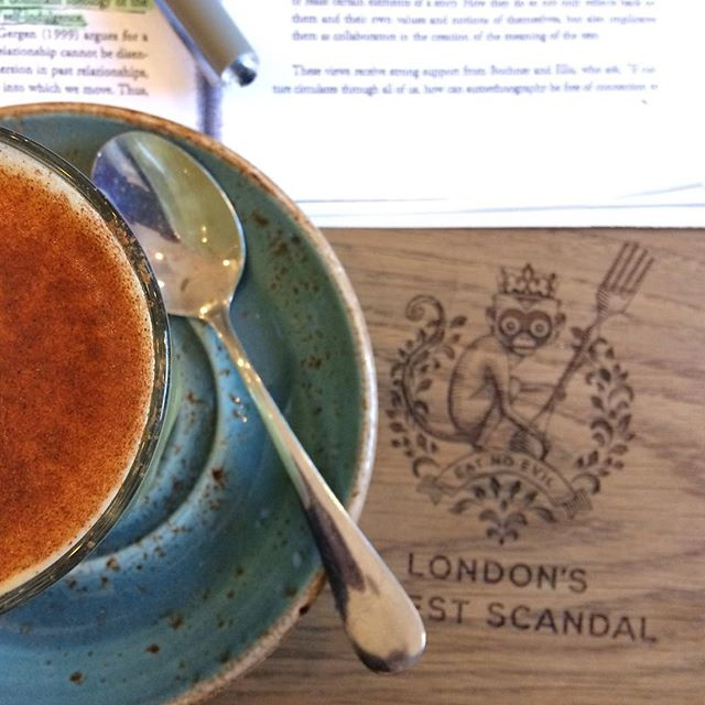 Studying is much more exciting with turmeric lattes and a little monkey 🤓 Yep, already diving deep for next essay & presentation 🏋🏽‍♀️. Exploring global poetry forms and whether different forms induce different therapeutic effects 🤔 These sorts of things excite me no end! Unlike the last essay...😱