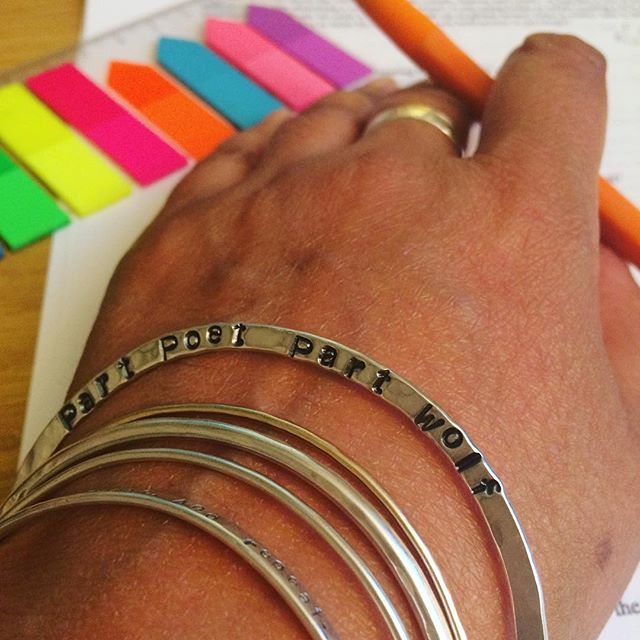 Working hard on a presentation for uni and my eyes catch the words on my bangle...thank you to the supremely talented @sarabukjeweller for this gorgeous silver totem.