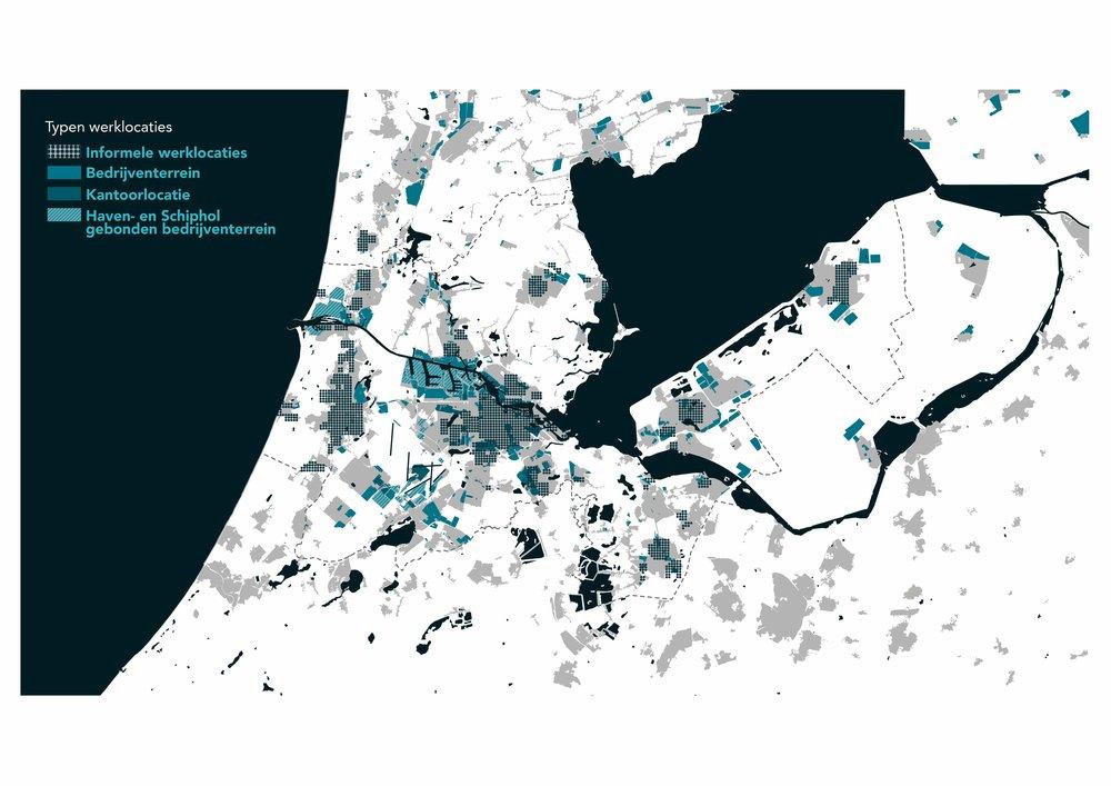 Kaartbeeld van verschillende type werklocaties in de MRA door SPcitI