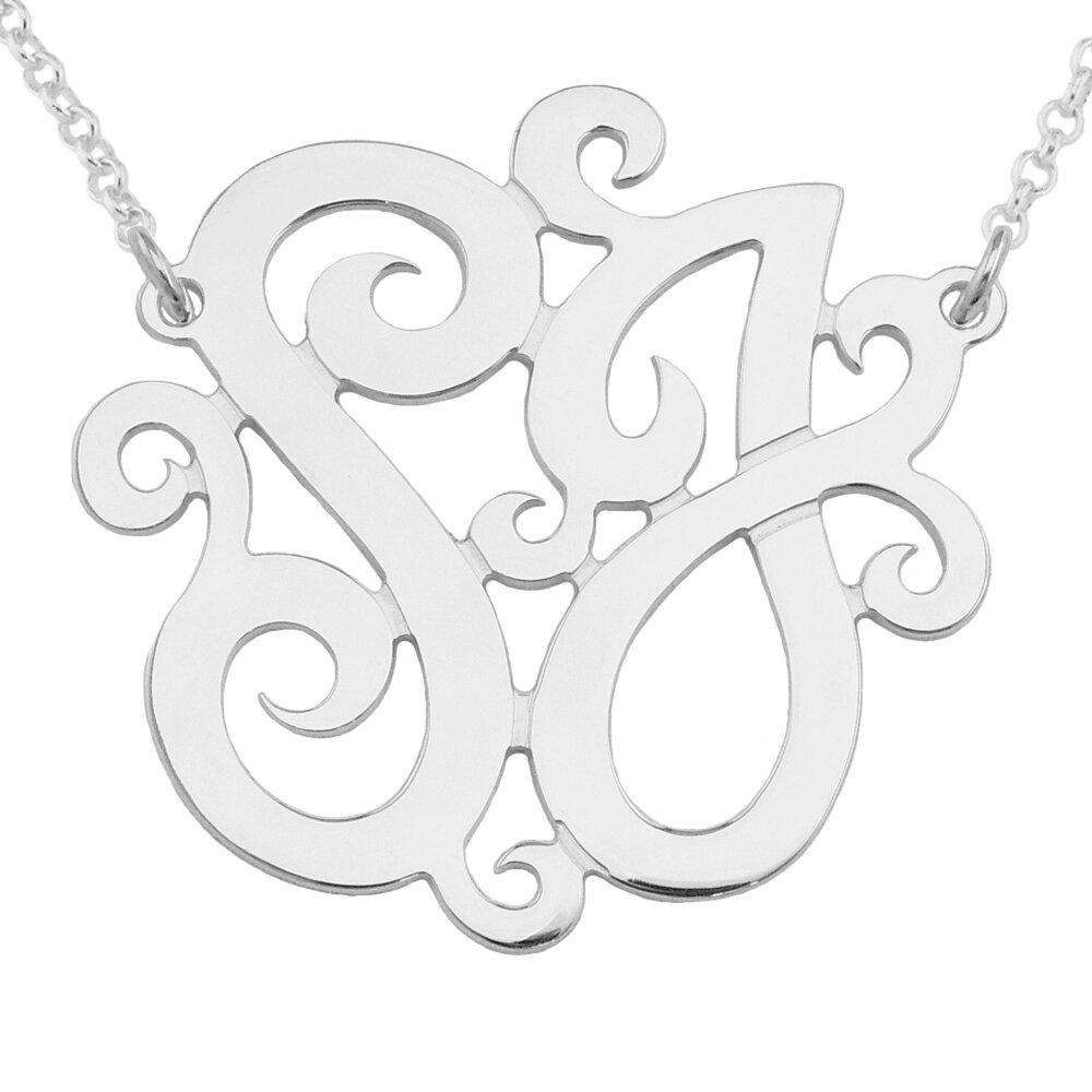 "18/"" or 20/"" Silver 16/"" 3 Interlocked Initial Monogram Heart Pendant Necklace"