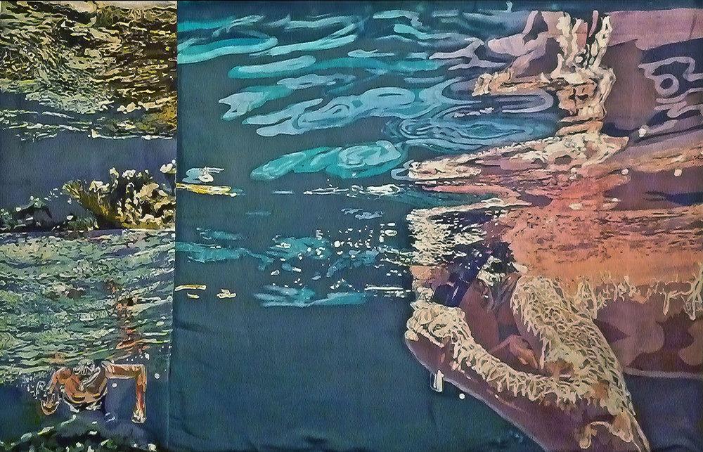 """""""Agua Uno""""  rozome on silk 27 x 34 in"""