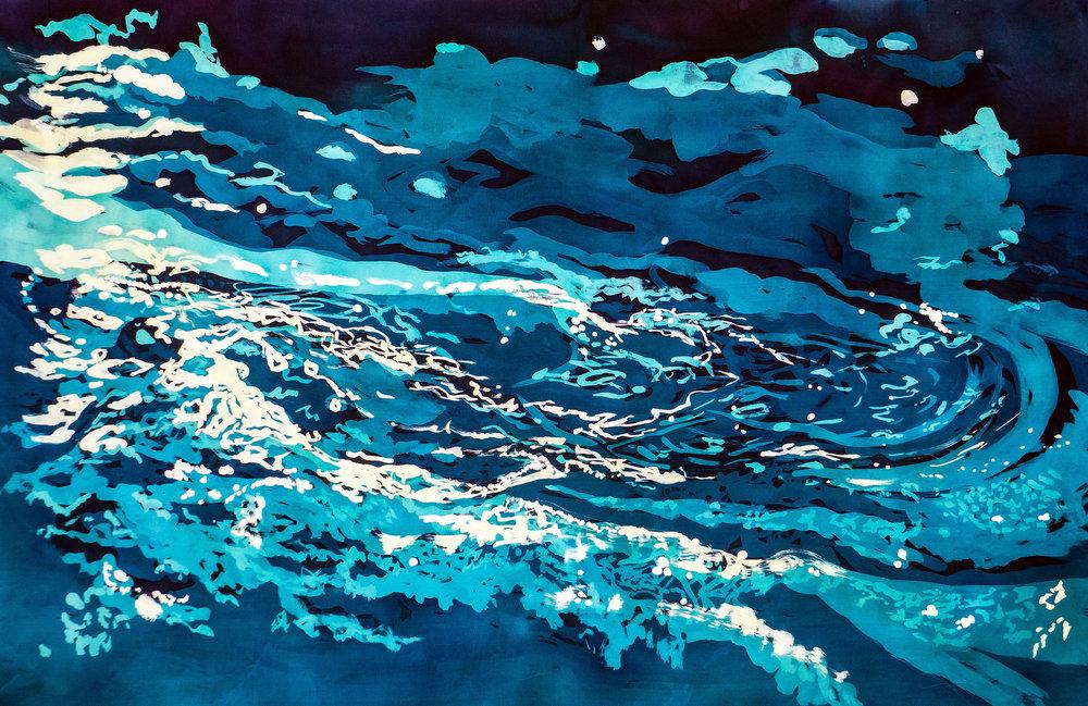 """Agua XXVII: Swirling Waters"" rozome on silk 34 x 38 in"