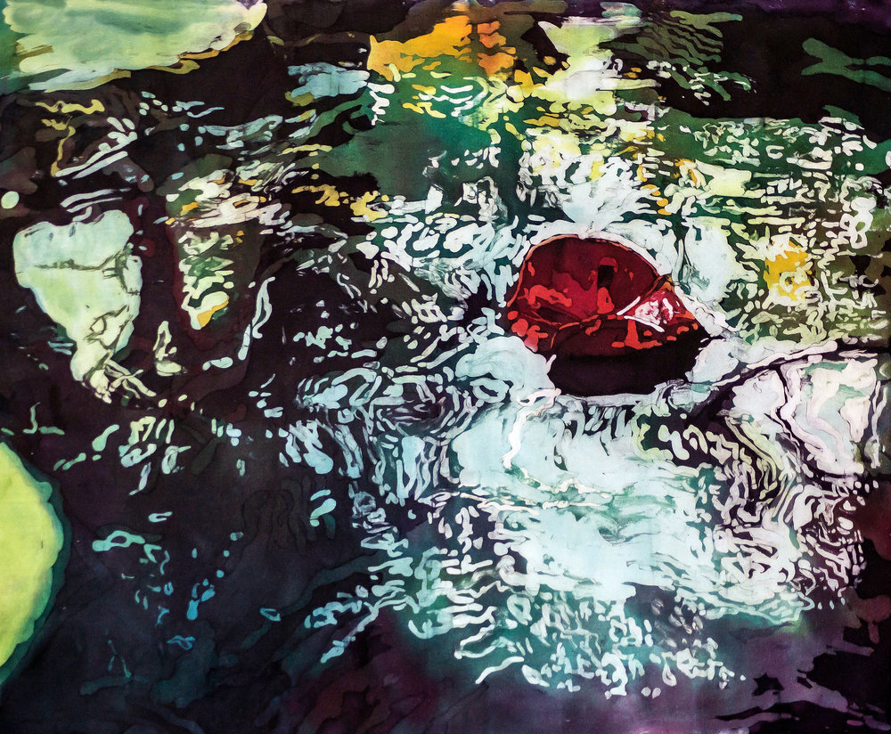 """""""Agua XIII: The Red Leaf"""" rozome on silk 27 x 34 in"""