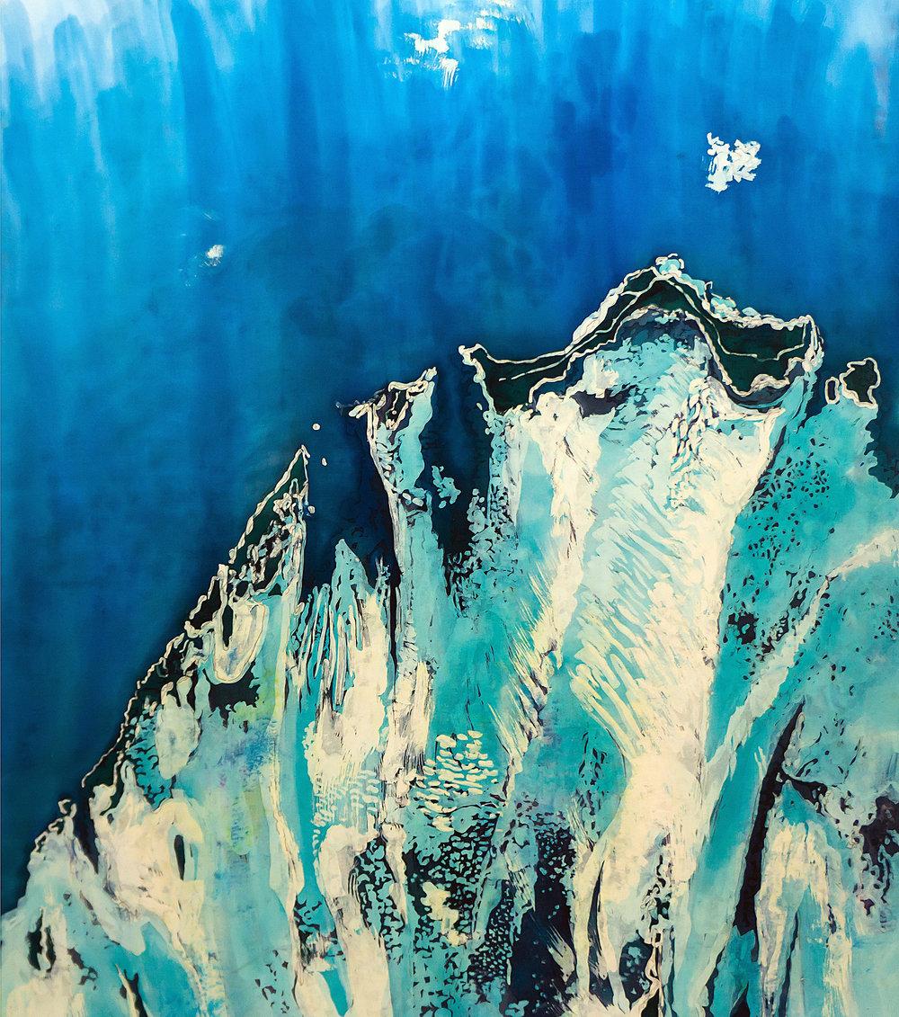 """""""Agua XXX: Tidal Delta"""" rozome on silk 32 x 40 in"""