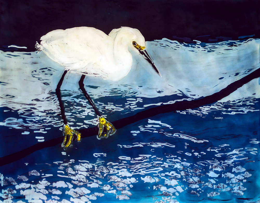 """Golden Slippers"" rozome on silk 29 x 35 in"