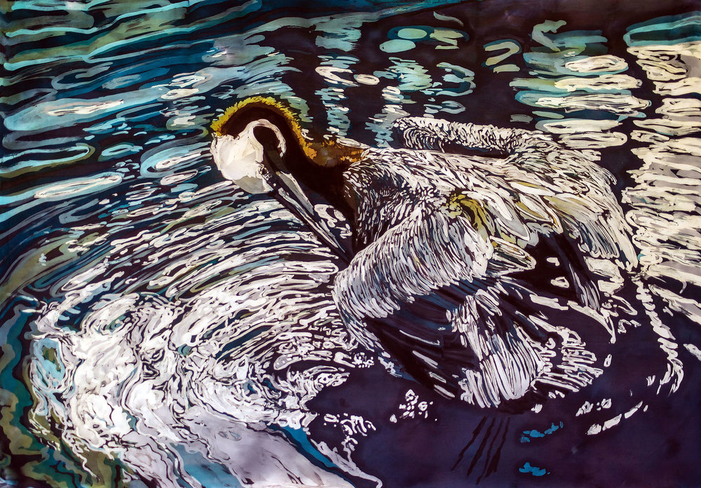 """Preening""  rozome on silk 32 x 43 In"