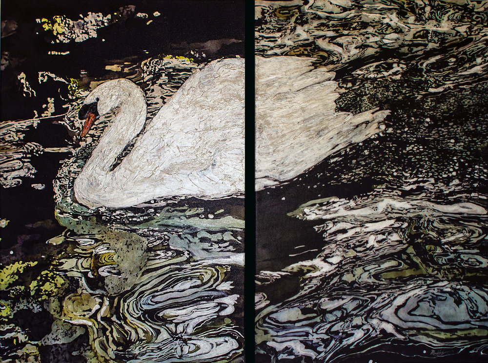 """Swan Lake"" mixed media 24 x 49.5 in"