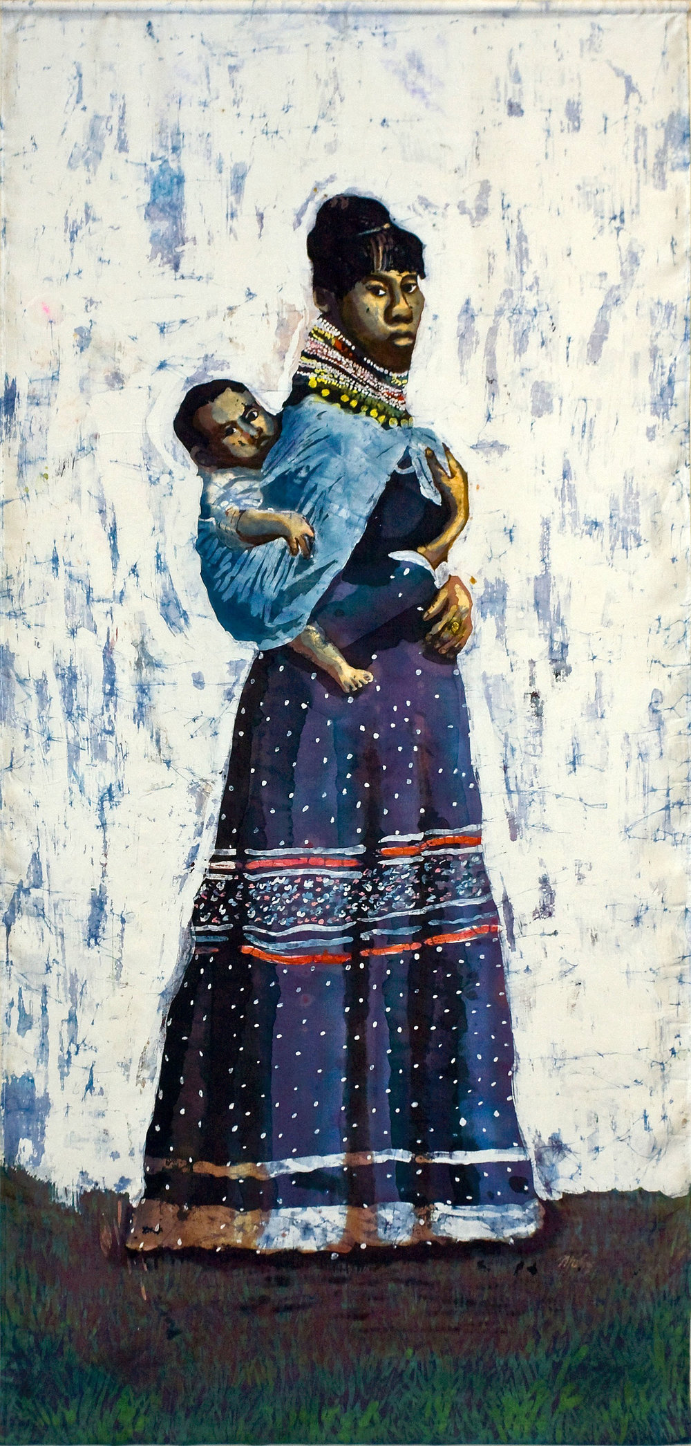 """Seminole Mother and Child"" rozome on silk 72 x 32 in"