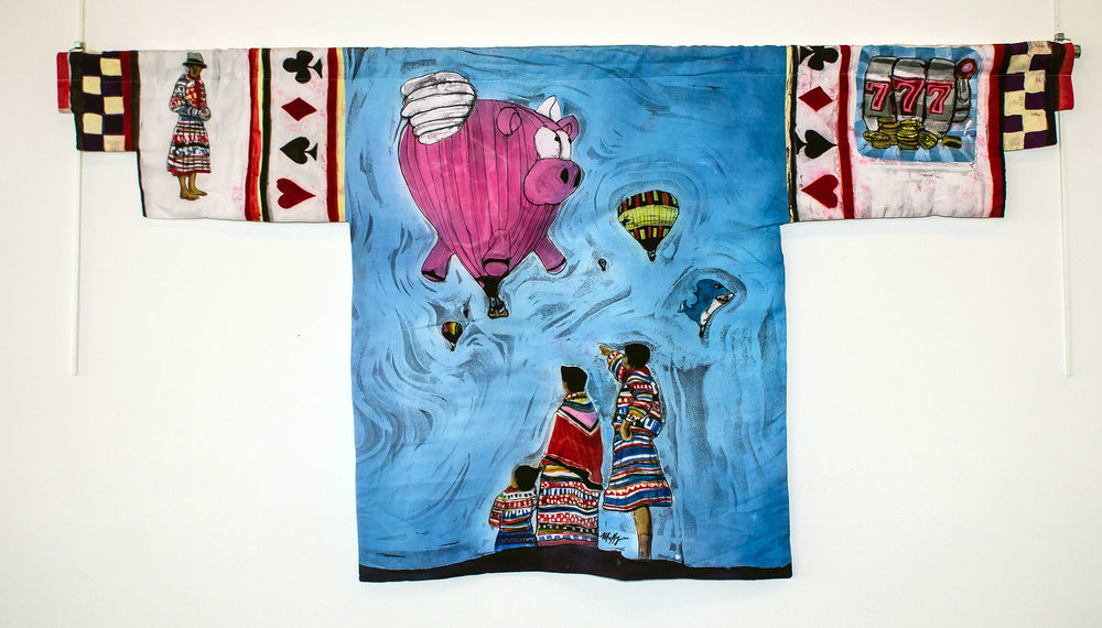 """When Pigs Fly"" rozome on rayon 27 x 61 in"