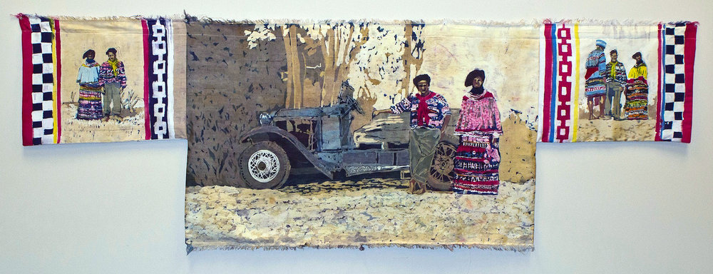 """Frank and Anne Charlie"" rozome on silk 36 x 80 in"