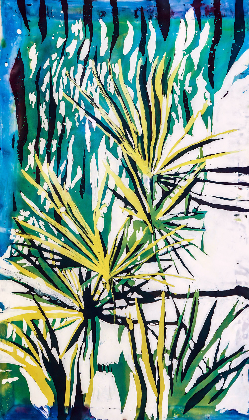 """Palmetto""   rozome on silk  42.5 x 27 in"