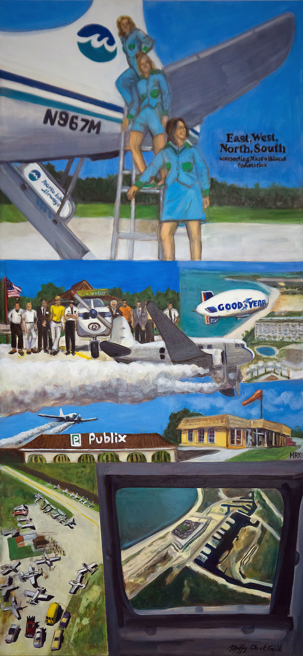"""Flyin' High""   oil on linen   22 x 44 in  Marco Island (Florida) Historical Museum permanent collection"