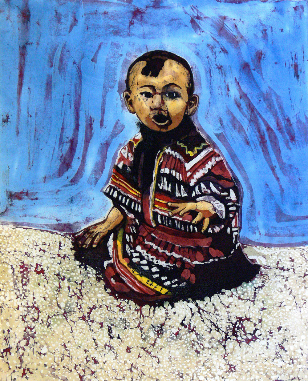 """Papoose"" (Seminole baby Fred Smith)  batik on rayon Collection of the Golisano Children's Museum of Naples"