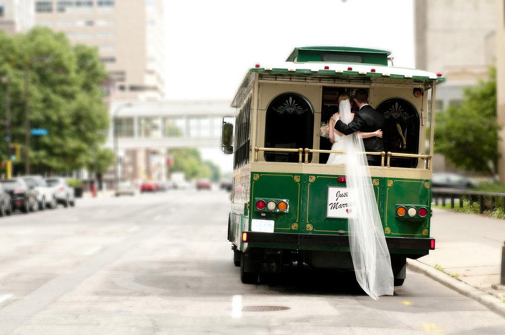 Wedding photography on trolley just married minneapolis