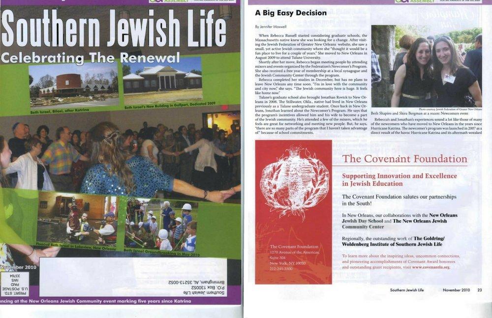 """A big easy decision,"" Southern jewish life (Nov. 2010)"