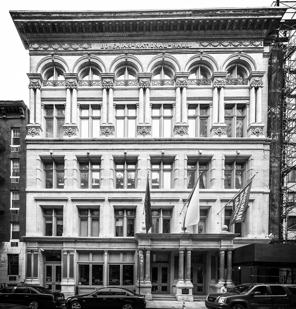 VENUE - BOHEMIAN NATIONAL HALL321 East 73rd Street, New York, NYThe five-story building was designed by William C. Frohne in the Renaissance Revival style, and built in 1896. It is a rare survivor of the many social halls built in the nineteenth century for New York City's immigrant ethnic communities.