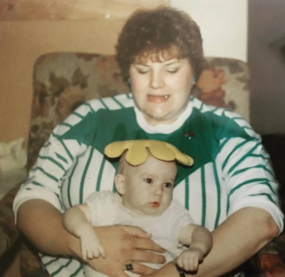 My beautiful Aunt Denise who passed away one year ago on Valentine's Day. That's me (Kelsey) on her lap. This is in honor of her ❤️