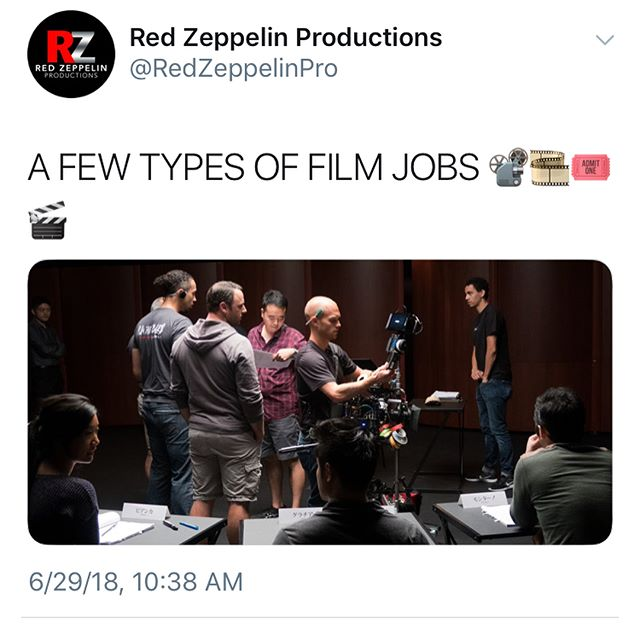 There are many types of jobs on a film set. All of them are vital to the project's success! Here are a few of them! • • If you don't know which field you want to pursue, we highly recommend working as a production assistant at least once in your career. It is a wonderful opportunity to ask around, learn from all the different departments, and see which one fits your personality type and skill set!