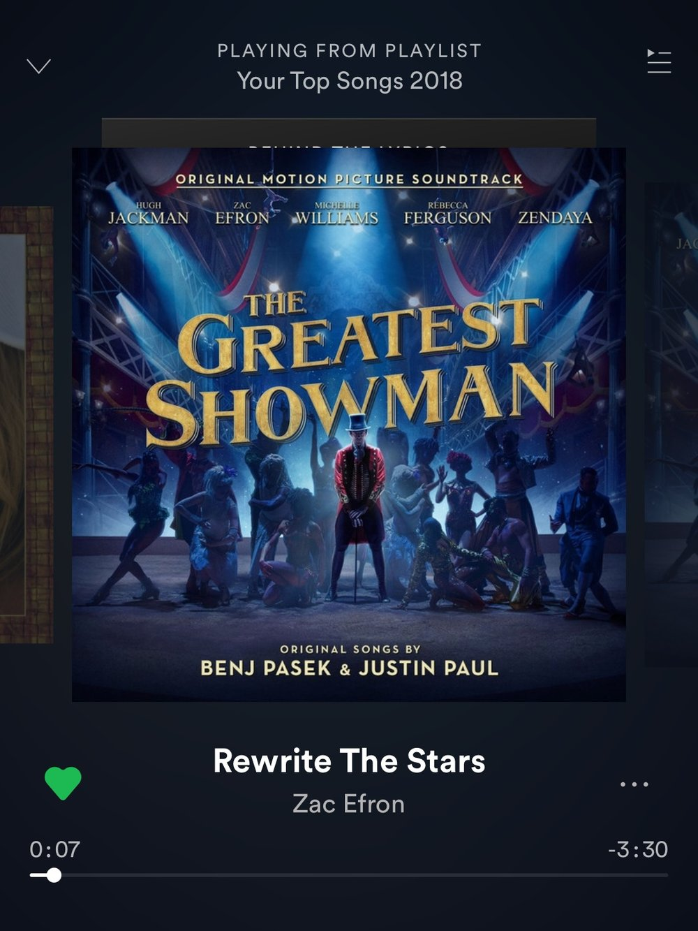 - I was late to the Greatest Showman party, but the second I watched it I was hooked. Three songs from the soundtrack were on my Spotify Top Songs of 2018. It's such a feel good movie with a great message and super catchy songs. Rewrite The Stars was my most played song on my Spotify hahaha.