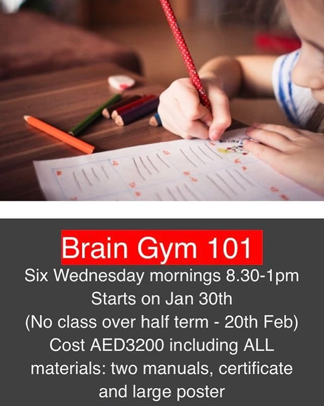 Why should you study Brain Gym??? As a mum of three I can't imagine life without knowing the techniques that I first learnt in Brain Gym. I learnt tools to help me support my children through those tricky moments: when they get a piece of homework that they just don't know how to tackle and try every tactic they know to avoid doing it! when they're having trouble with their friends, when school becomes overwhelming or when they're scared or anxious about things.  The best thing is that they're easy and fun to do and don't take very long at all. My children all enjoyed doing them - they thought that they were playing - and they were! I now know what to do when I'm feeling overwhelmed, when there's just too much to do and when I just don't know what to do to help my children. As my children have grown older Brain Gym activities have helped them to achieve their best academically as well as in other areas - and they also know how to help themselves! The Brain Gym course was one of the best investments in time energy and money that I've ever made. It really did change our lives! (Anna Mitchell - Kinesiology Dubai)  Please contact us for more details 😊