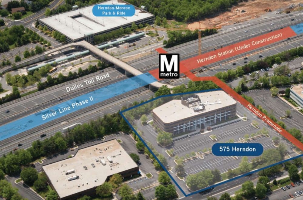 575 herndon parkway - 575 Herndon Parkway is a 4.8-acre property located at the landing site of the WMATA Herndon Silver Line station. The site is currently improved by a 135,102 square foot office building primarily occupied by Booz Allen Hamilton. Kiddar Capital plans to hold the site for three to ten years before redeveloping to a potential 906,000 square feet of mixed-use space.