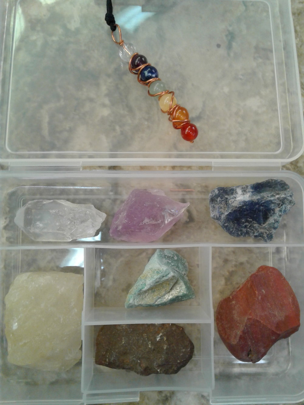 Just a few of many crystals you'll receive also with with matching necklaces & printouts