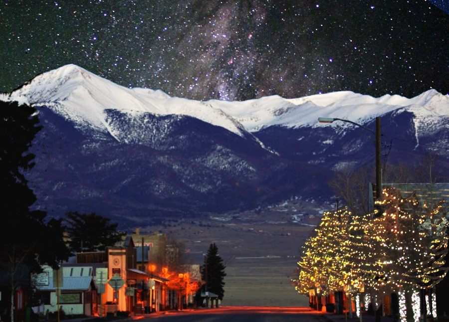A simulated nighttime view of the Milky Way rising over the town of Westcliffe, Colorado. Illustration courtesy of Ed Stewart.