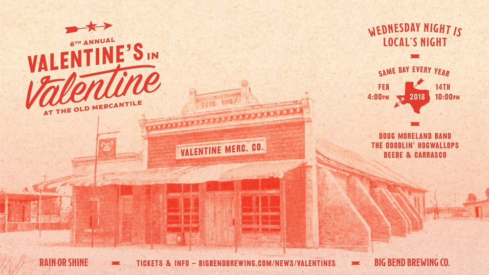 Now in its 6th year, Valentine's Day in Valentine, Texas has become a new West Texas tradition. Join us Wednesday, February 14th, 2018 at the Old Mercantile Building in Valentine, Texas for 'Local's Night'. This year's lineup includes Doug Moreland Band, The Doodlin' Hogwallops, and Beebe & Carrasco. Click image for more info!