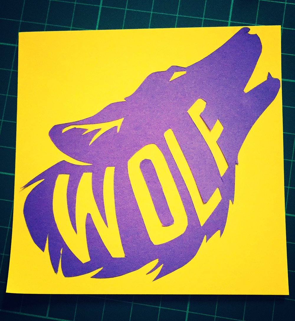 A paper-cutting of Mr Wolf