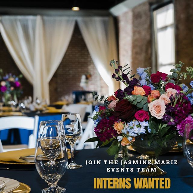 Do you have the desire of becoming a wedding planner one day but just don't know where to start or what to do? Here's the perfect opportunity for you to learn how to!  Jasmine Marie Events is now accepting interns for all of the amazing weddings/events they have coming up and we would love to have you on our team.  We are looking for passionate, hardworking, and dedicated individuals.  Contact us today‼️ P.S. No prior experience required 😊