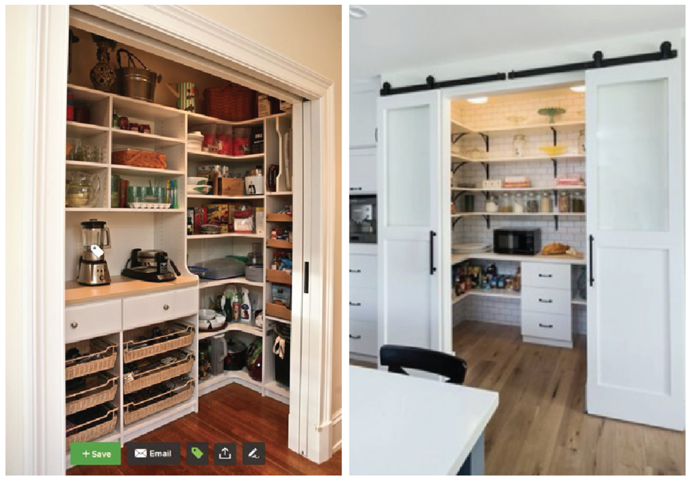 houzz source:  Marie Newton, Closets Redefined  |  Pintrest source: article from Town and Country Living