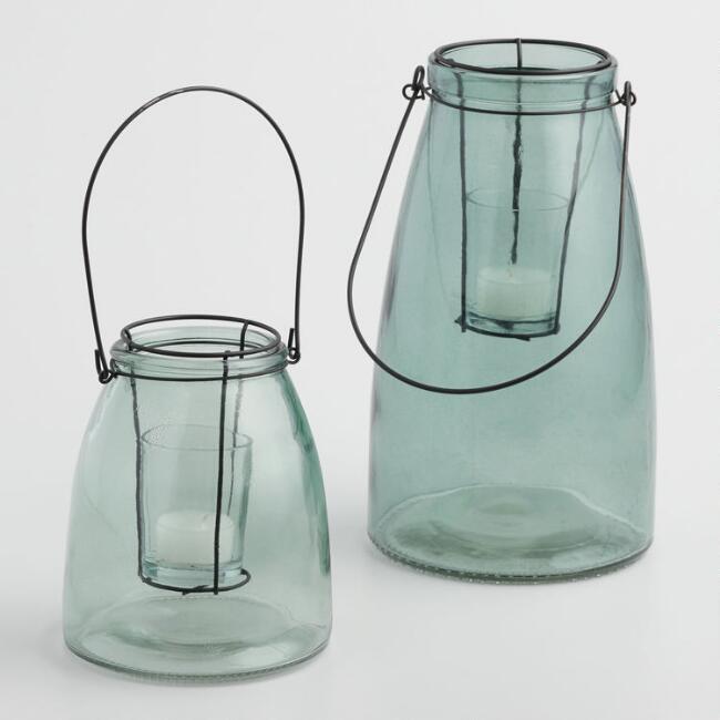 Green Glass Cheyenne Lantern