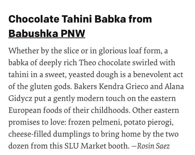 """Thanks @SeattleMet/@rosink! We love the phrase """"gently modern touch"""" to describe what we do and we're so honored to be featured with so many other fantastic small businesses. (Our babka is always available by the slice at @slumarket on Saturdays and @damsel_and_hopper on the weekends until they sell out. Pre-order through our website if you want a whole loaf!) #babka #womeninbiz"""