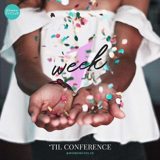 """🗣 1  WEEK  AWAY 🗓 —— Ladies we are only 1 week away from the #WomanEvolveConference 🙌🏽. Join us as we countdown to the conference. As Pastor @Sarahjakesroberts always says, """"No matter where you are in life, if you're still here you still have growing to do, but you don't have to do it alone."""" So do it with us! There's still time to register. Follow the link in Bio now! . . . #womanevolve #sisterhood #faith #fun #fashion"""