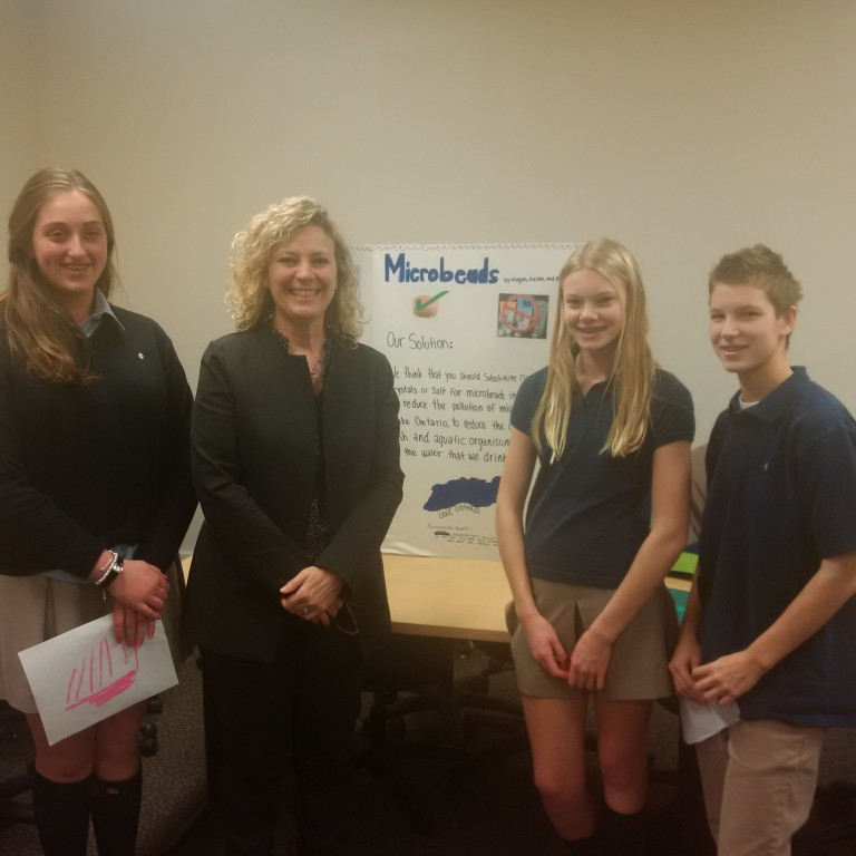 In December 2015, I had the pleasure of hearing presentations by Greenwood College's Grade 8 Class on how microbeads affect our water. As Chair of Public Works, I was very impressed by their research and hard work.