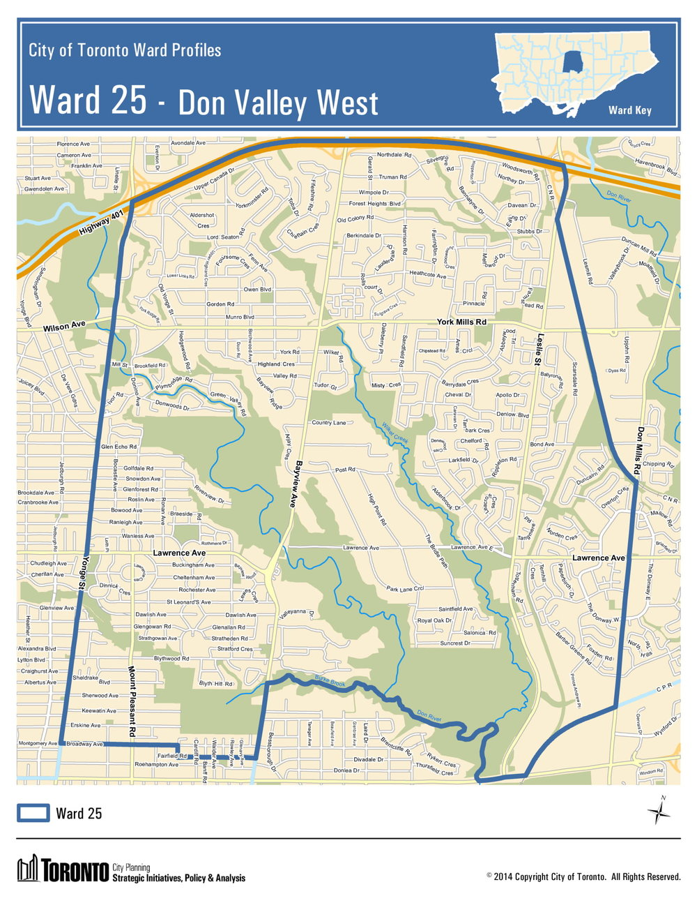 The current Ward 25 boundaries that will no longer be in place following the October 22 Municipal Election.