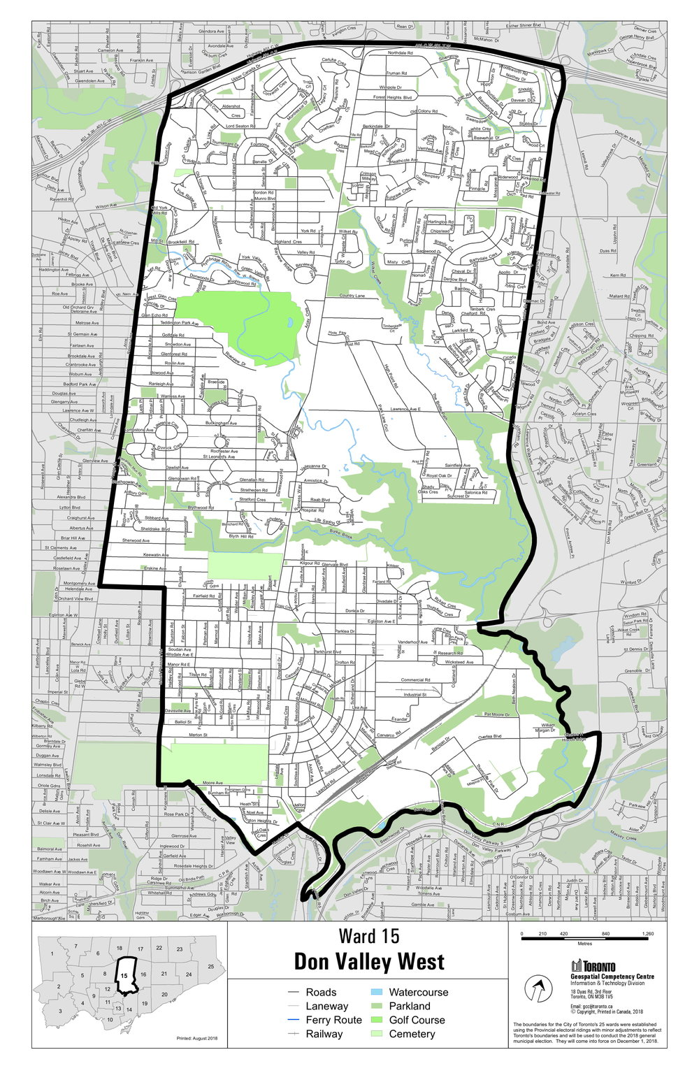 The new Ward 15 boundaries that will be inclusive of the old Ward 25. All new changes will be in place for the October 22, 2018 Municipal Election.