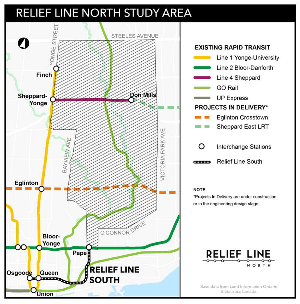 City staff are currently studying the alignment and potential station locations for the Relief Line North.