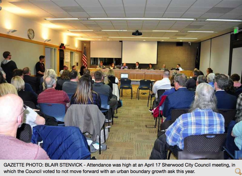 Sherwood Gazette Article on April 17th Meeting