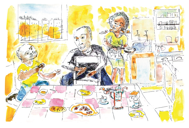 TJ and parents from  Little Man, Little Man . Illustration by Yoran Cazac.