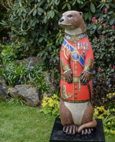 Otter Number 12 -  The King Created and Decorated by  Sophie Knight  for Pullingers Art Shop, Farnham and Sponsored by  Pullingers Art Shop  &  Pebeo