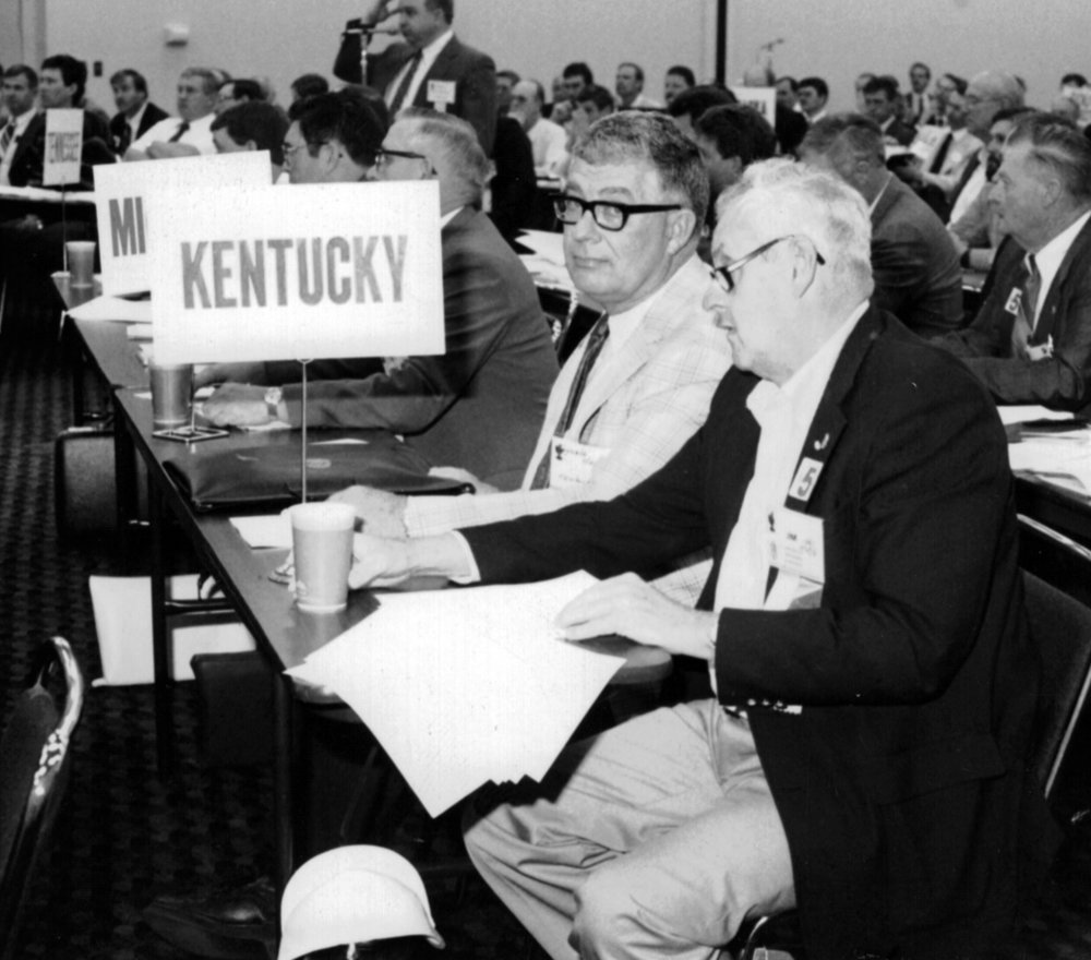 Jim Barton with Kenneth Hayden at 1980s Corn Congress.