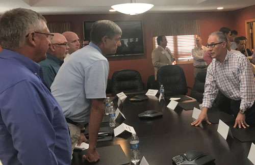 Kansas corn and ethanol leaders spoke with Administrator Pruitt (right) after the meeting.