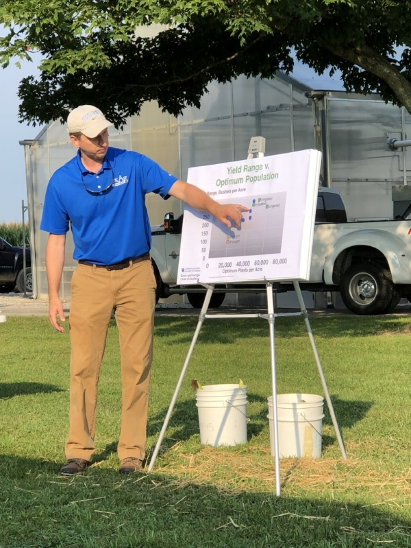 Chad Lee explains results from KyCorn funded research on plant populations and yield.