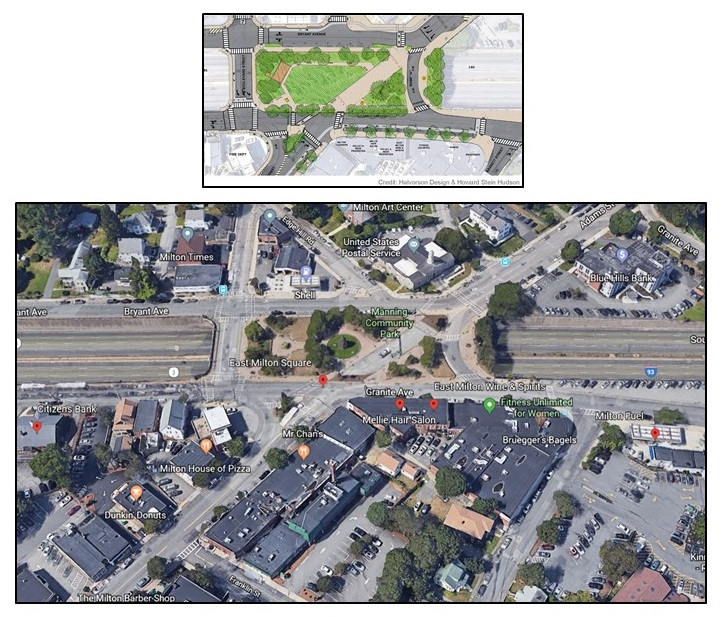 Aerial of East Milton Square & Proposed Manning Park Redesign