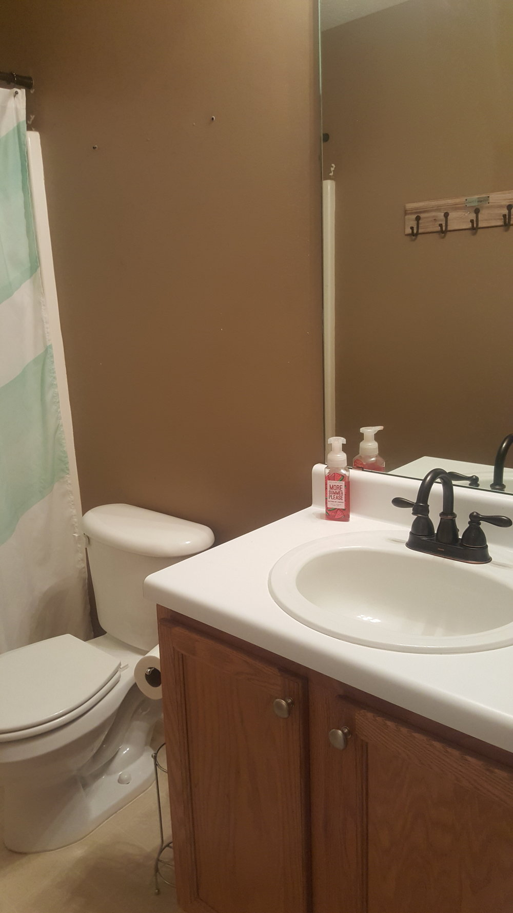 Awful mirror and free standing toilet paper holder.