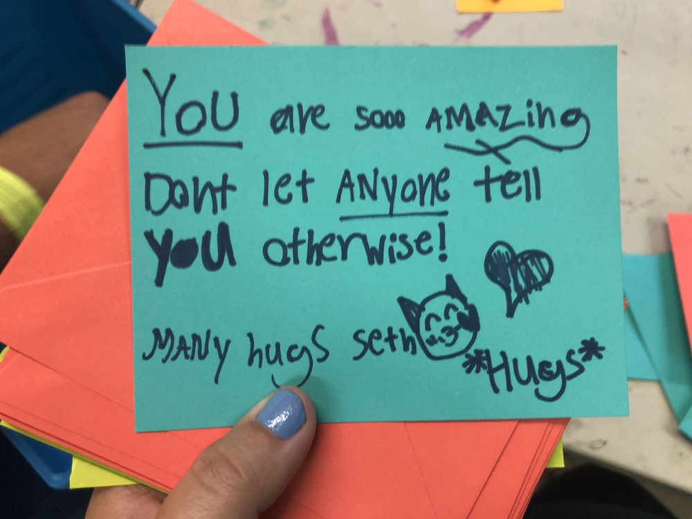Card written by a middle school student to give to the homeless!
