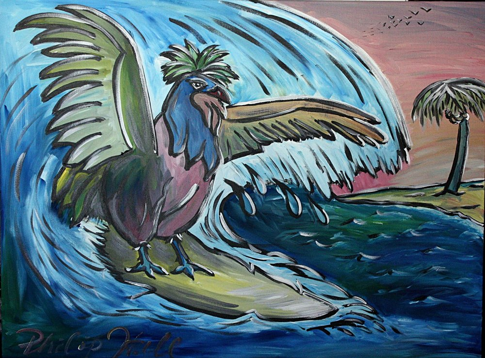 """The surfing rooster 30"""" x 40"""""""